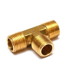 "Tee 1/2"" Male NPT MPT Brass Pipe Fitting Fuel, Air, Water, Oil, Gas FasParts"