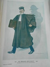 Caricature 1910  M. Busson Billault Re Bâtonnier Avocat dessin A. Barrère