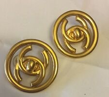 Chanel Authentic Gold Tone Turnlock Clip On Earrings