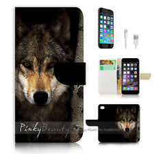 iPhone 7 (4.7') Flip Wallet Case Cover P0784 Wolf