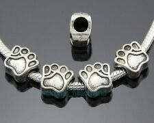 30pcs Tibetan Silver Dog Cat Pet Paw Print Beads Fit Charm Bracelet ZY189