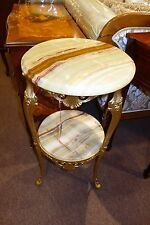 Classic-Style Onyx & Brass Telephone Stand Side Table Home Decor Storage Italy