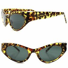 True Vintage Fashion Deadstock Classic Womens Tortoise Indie Cat Eye Sunglasses