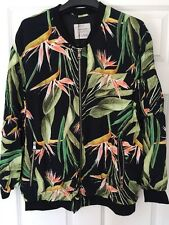 BNWT ZARA WOMEN EXOTIC BLACK PALM TREE LEAF PRINT OVERSIZED  BOMBER L