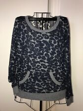 Womens FOREVER 21 Sheer Leopard Animal Print Crew Neck Pullover Sweater Top Sz S