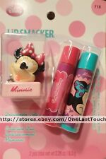 NEW 2012 Smackers MINNIE MOUSE x2 Lip Gloss+Balm Topper Keychain 3pc Set Carded