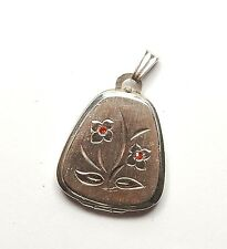 Vintage 925 Sterling Silver K&L RED CZ TULIP FLOWER PHOTO LOCKET PENDANT 7g