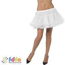 WHITE PETTICOAT TUTU UNDERSKIRT SATIN BAND womens ladies fancy dress costume