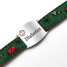 Diabetes Childs Medical Bugs Sport Strap Bracelet with ID Tag 4 - 8in - AA1368