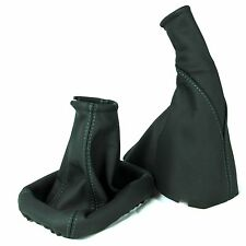 SET ASTRA G MK4 COUPE GREEN STITCH GEAR HANDBRAKE GAITER GENUINE BLACK LEATHER