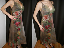 Michal Negrin Luxus Kleid Tunic Rosen dress Silvester Weihnacht Fest Anlass M