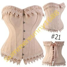 SEXY Cream Lingere Satin Lace up Boned Corset top Bustier Shaper Costume SZ 6XL