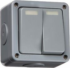 Knightsbridge IP66 Weatherproof 10A 10 Amp 2G 2 Gang 2 Way Outdoor Garden Switch