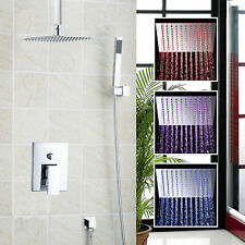 Ceiling Mount Bathroom Bath LED Shower Head Arm W/Hand Spray + Square Valve Tap