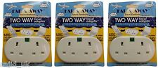 3x Far & Away Double Two Way Earthed Continental EU European Travel Adaptor Plug
