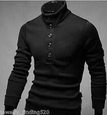 Fashion Men's Turtle Neck Single Row Button Business Wool Sweater Slim Pullover