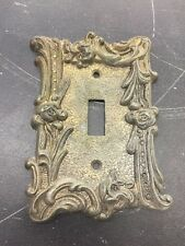 Vintage brass Gothic Rose Single Light Switch Plate Cover 5""