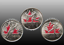 2009 Colored 25 Cents Vancouver 2010 Olympic Set Uncirculated (3 Coins)