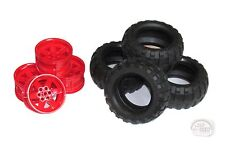 LEGO Technic - Balloon Tire x 4 w/ Red Rims - 9398 - New