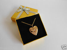 9 Carat Gold On Hallmarked 925 Sterling Silver Heart Locket Pendant With Chain