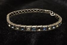 VINTAGE ART DECO STERLING SILVER/GLASS TENNIS BRACELET ~ 7 1/2""