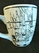 """Huge French Chefs & Maids  Coffee Mug   Blk Line Drawings on White  H  4 7/8"""""""