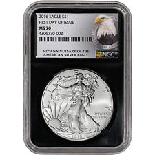 2016 American Silver Eagle - NGC MS70 - First Day of Issue - 30th Ann - Retro