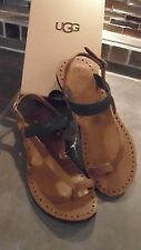 NEW UGG RAEE BLACK & TAN BRAIDED FLIP FLOPS SLIP-ON SHOES SZ 6 M ~ SUPER CUTE!