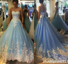 2016 Blue Cinderella Wedding Dresses Princess Appliques Bridal Gowns Custom made
