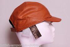 ROBERTO CAVALLI Burnt Orange SOFT LEATHER Baseball Cap Hat BNWT Medium