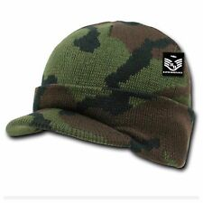 Men Visor Beanie Camo Cap Hat Knit winter Ski Hunting Hiking Fishing Bike Unisex