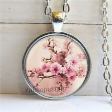 Vintage flower Cabochon Silver plated Glass Chain 25mm Pendant Necklace#2