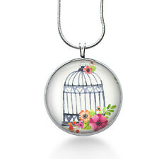 Birdcage with Flowers Necklace, Jewelry Pendant, Animals, Floral