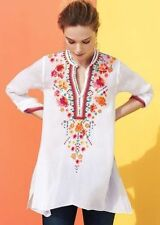 NWT $245 Johnny Was Embroidered Sable tunic Top Split Neck Sz L