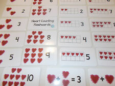 Heart Counting Laminated Flashcards. Preschool Picture and Word flashcards.
