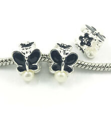 Hot 3pcs Butterfly Silver European Charm Spacer Beads Fit Necklace Bracelet  DIY