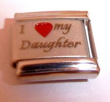 I LOVE MY DAUGHTER Italian Charm - fits 9mm Classic Starter Bracelets Red Heart