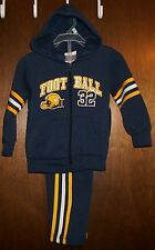 Boys Hoodie Pant Set sz 18mos TUFF GUYS Dark Navy Blue,Yellow&White/FOOTBALL NWT