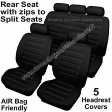 Black Soft Leather Look Air Bag Compatible Rear Split Car Seat Covers Full Set