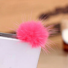 TopnewRabbit Fur Ball Earphone Ear Cap Anti Dust Plug Cover 3.5mm For Cell Phone