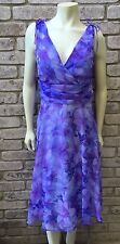 CONNECTED APPAREL Women's Size 12 Purple Chiffon Cocktail Floral Print Dress