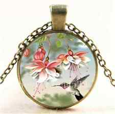 Vintage Hummingbird With Flower Cabochon Glass Bronze Pendant Necklace#909