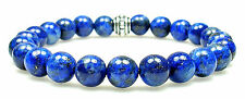 BRACELET - LAPIS LAZULI 8mm Round Crystal Bead with Description - Healing Stone
