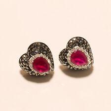 925 Sterling Silver Butterfly Women Earrings Marcasite Red Ruby Wedding Jewelry