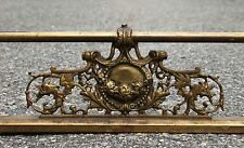 "Victorian Brass Iron Fireplace FENDER GUARD SURROUND 54"" Griffins Flowers 19th c"