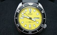 Vintage Seiko divers watch 6309 Auto DAY Date Mod YELLOW DIAL BLACK BEZEL K14.