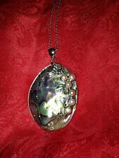 Lovely Abalone Shell & Freshwater Pink Pearl Pendant in Silvertone with Chain