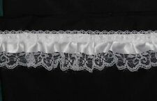 "2 1/4"" double ruffled White Satin Top with Lace Base - 50 yards"