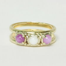 Ladies 14k Yellow Gold Ruby Pink Star Sapphire Three Stone Estate Ring