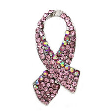 Breast Cancer Awareness Support Month Accessory Pink Ribbon Heart Brooch Pin b6